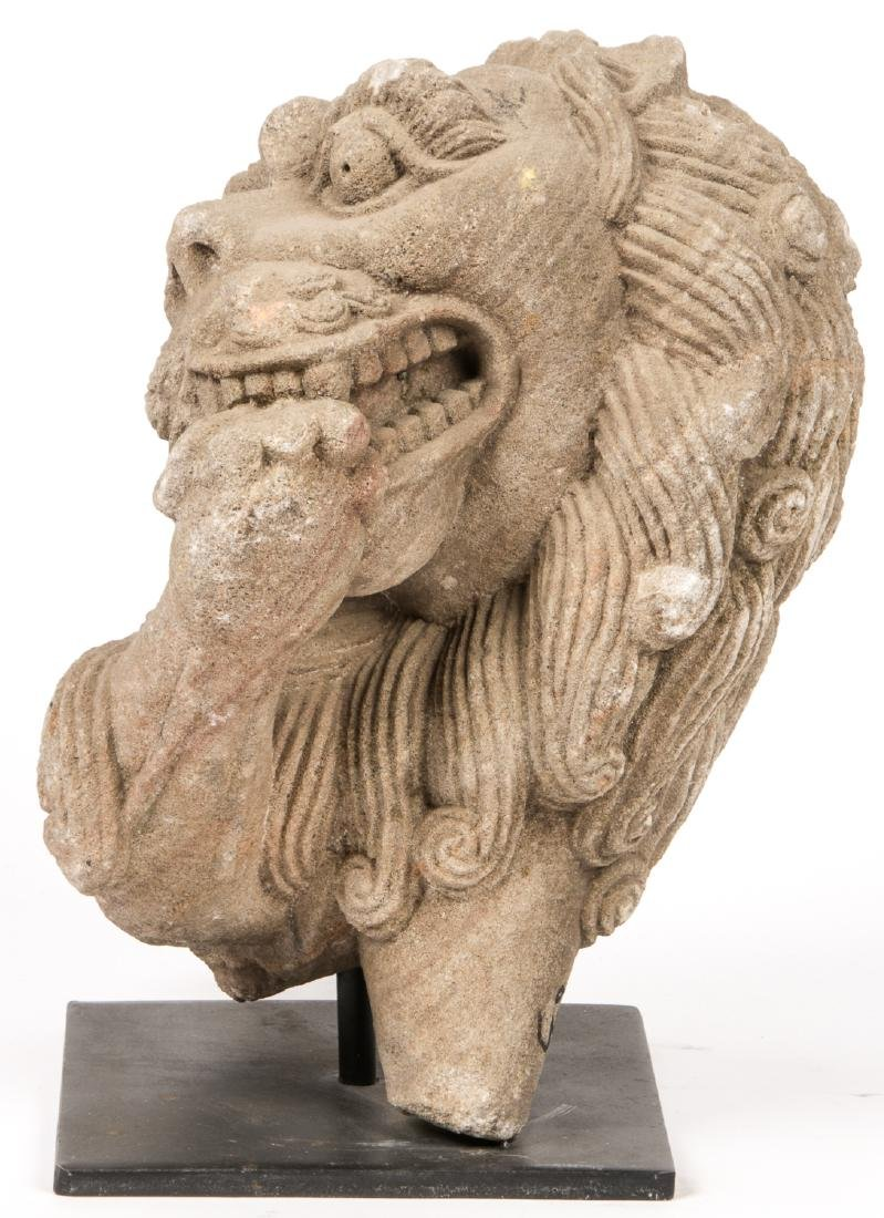 Large Ancient Carved Stone Bust of a Lion, India - 5