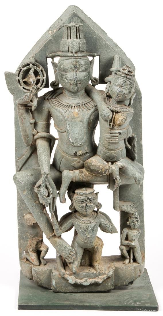 Large 12th C. Black Stone Carving of Vishnu / Lakshmi,