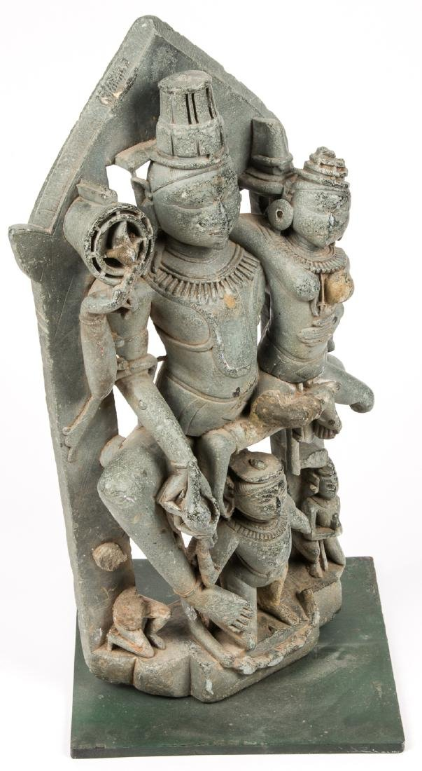 Large 12th C. Black Stone Carving of Vishnu / Lakshmi, - 2