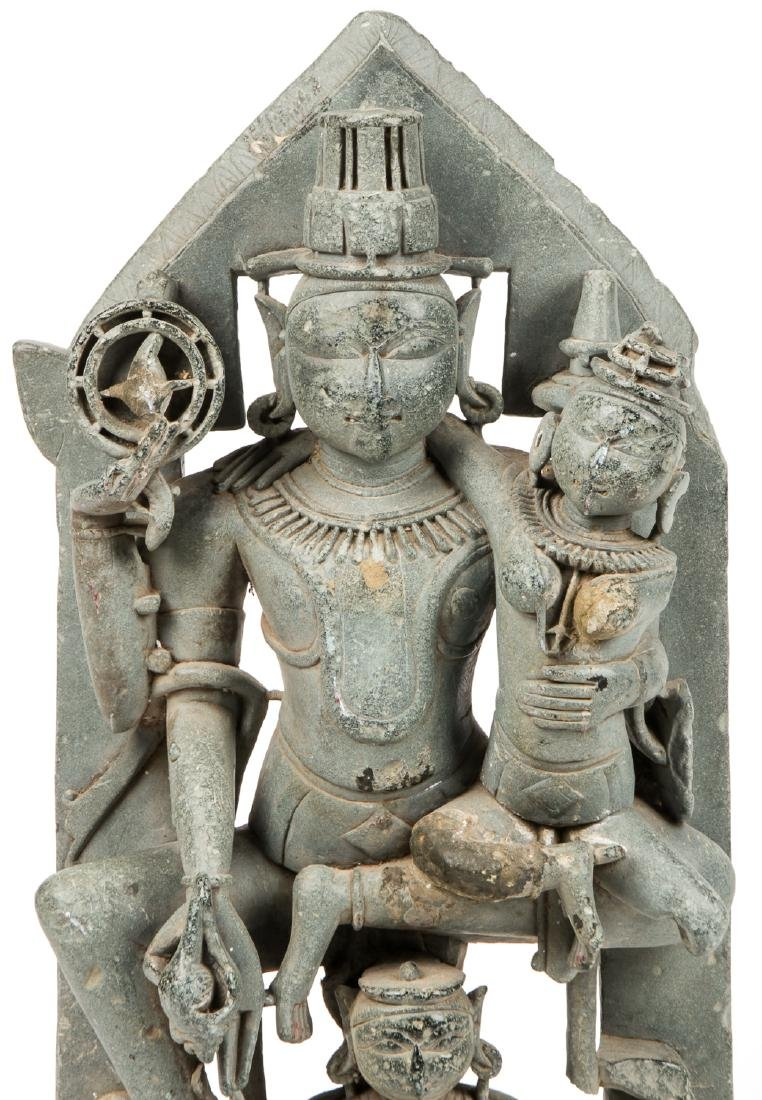 Large 12th C. Black Stone Carving of Vishnu / Lakshmi, - 6