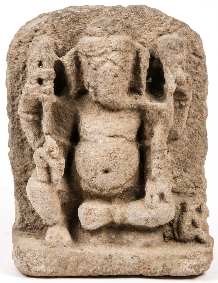 10th/12th C. Sandstone Carving of Ganesh