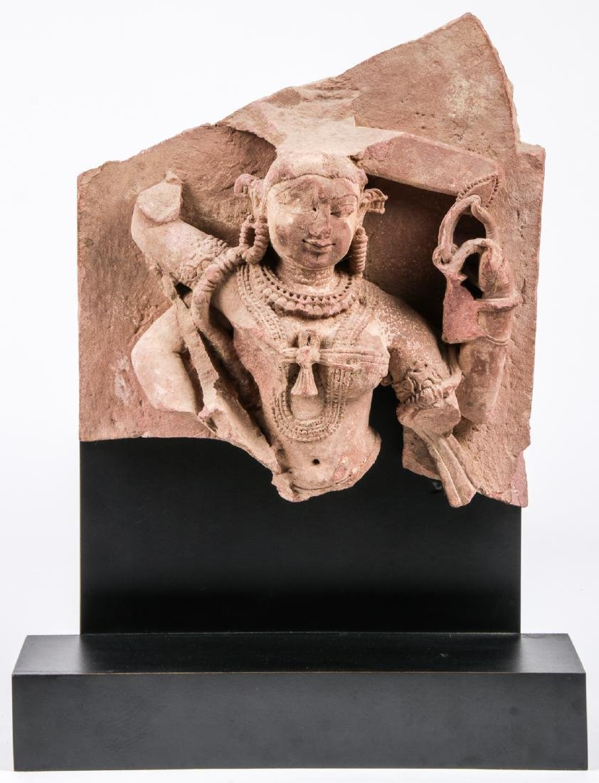 Carved Red Sandstone Sculpture of Parvati, India, 12th
