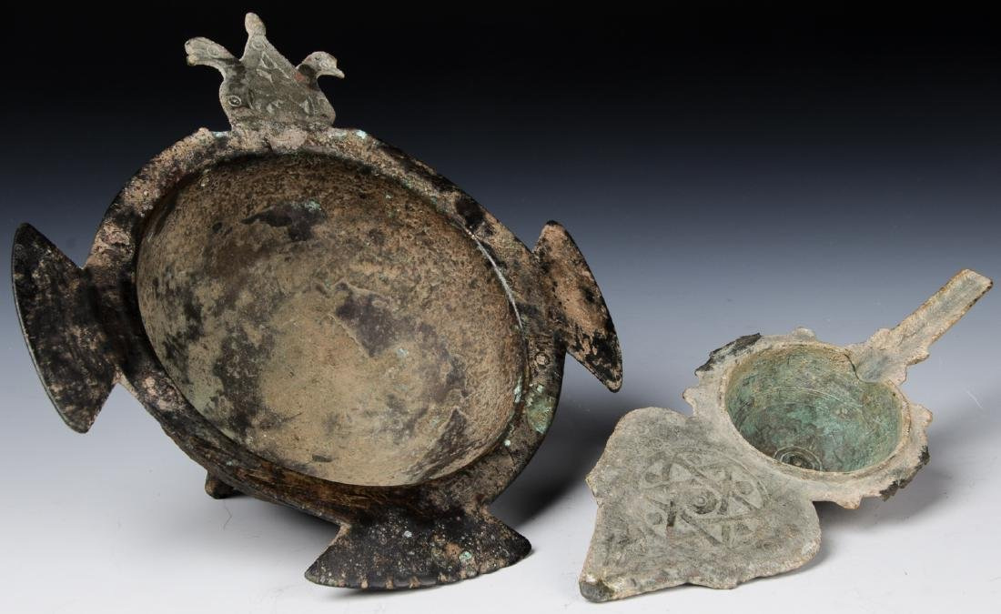 Ancient Bronze Cosmetic Container and Bowl, 9th to 12th