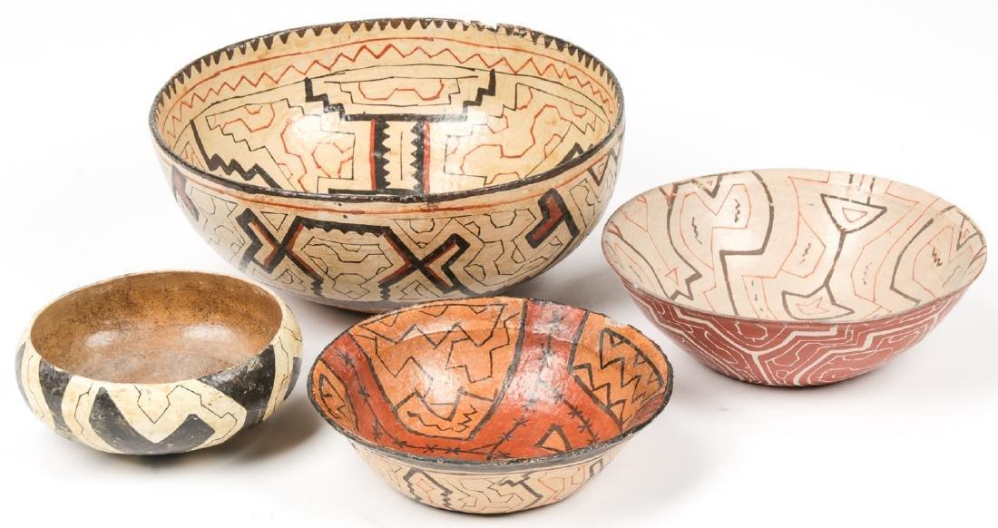 4 Old Peruvian Shipibo Bowls