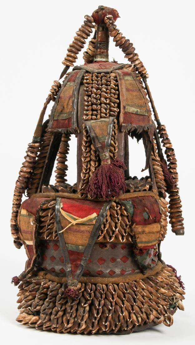 Old African Headdress w. Shells and Fabric