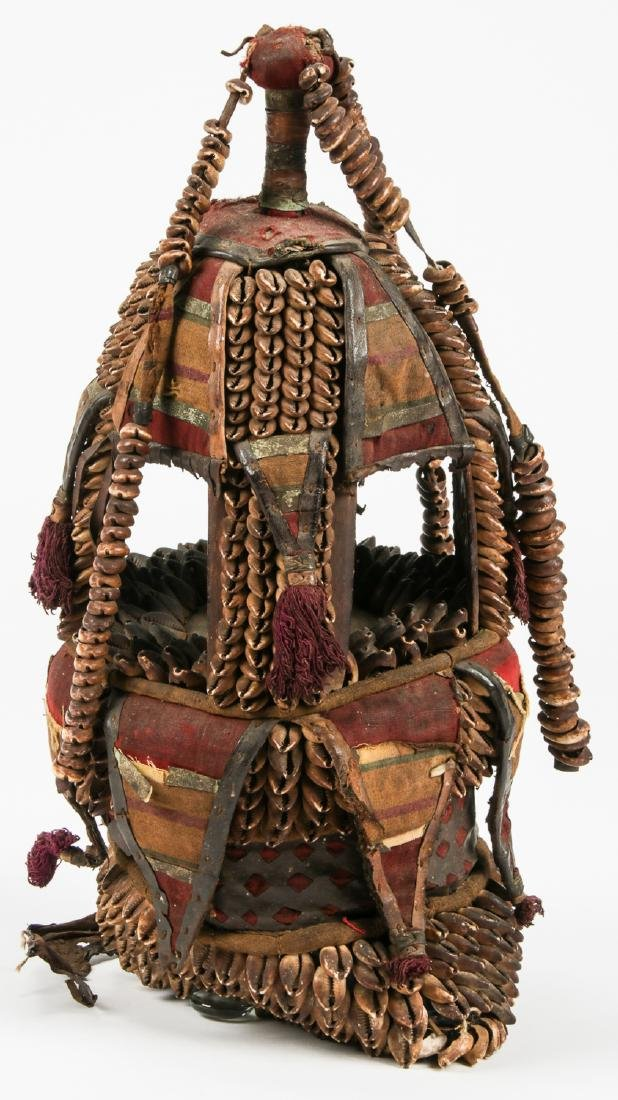 Old African Headdress w. Shells and Fabric - 2