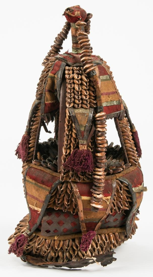 Old African Headdress w. Shells and Fabric - 3