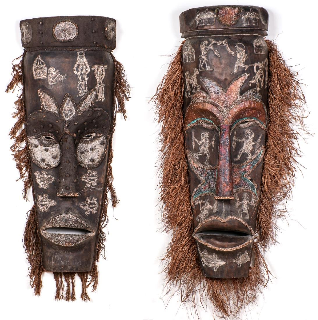 """Two Monumental African Tribal Masks: Ht. 70"""""""