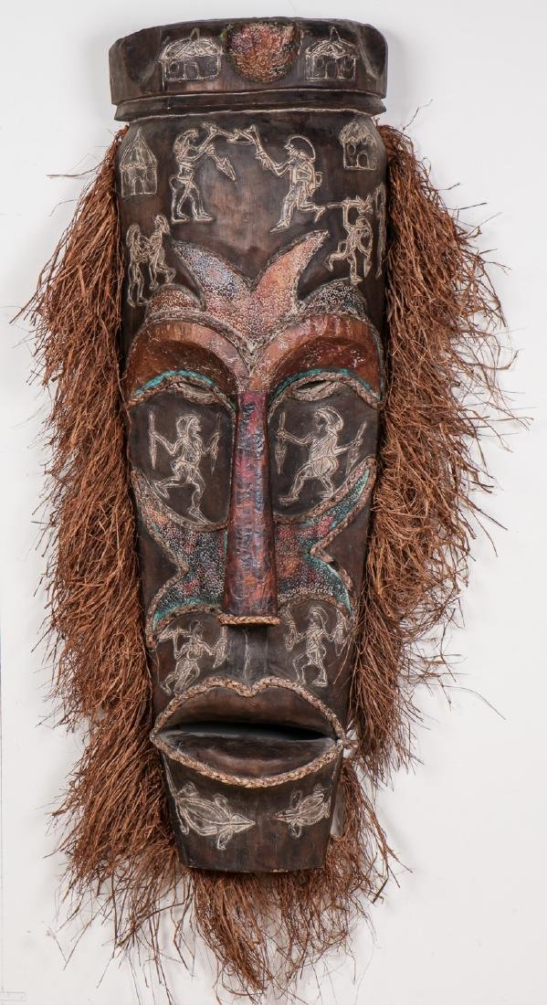"""Two Monumental African Tribal Masks: Ht. 70"""" - 7"""