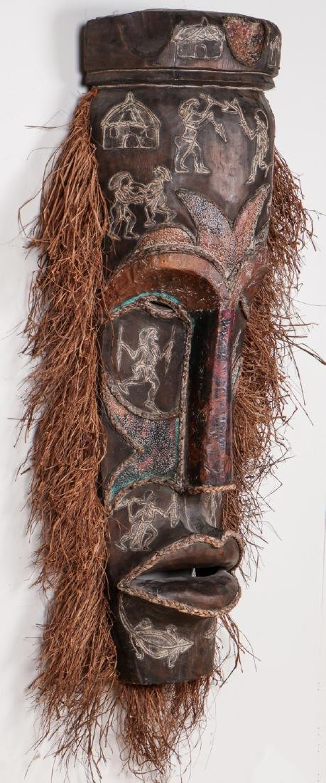 """Two Monumental African Tribal Masks: Ht. 70"""" - 8"""