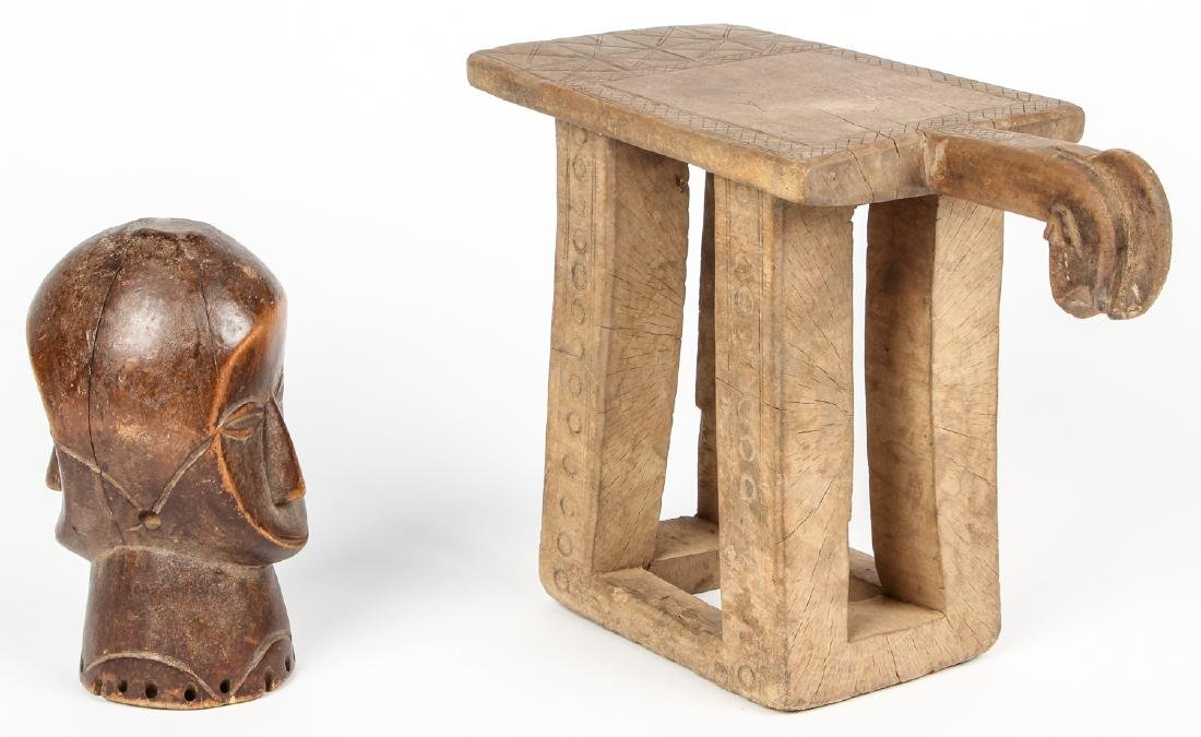 Old West African Village Stool and Janus Head - 3