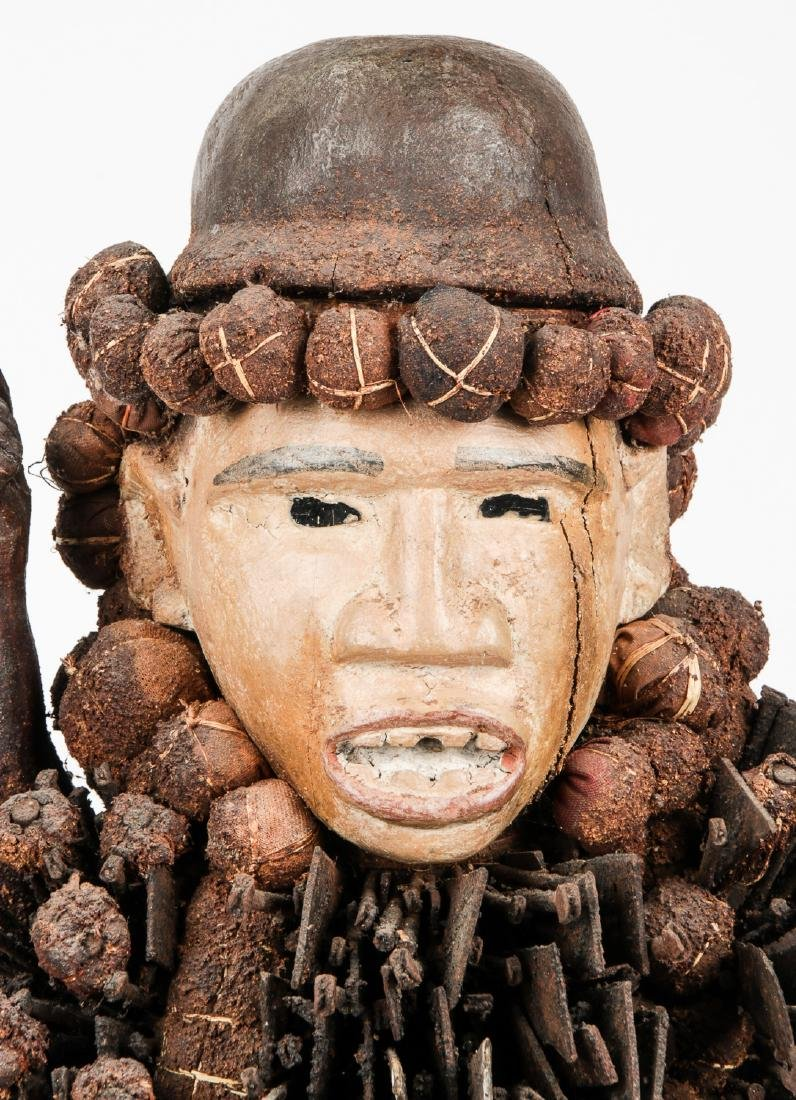 Large Vintage African Congo Nail Fetish Statue - 5