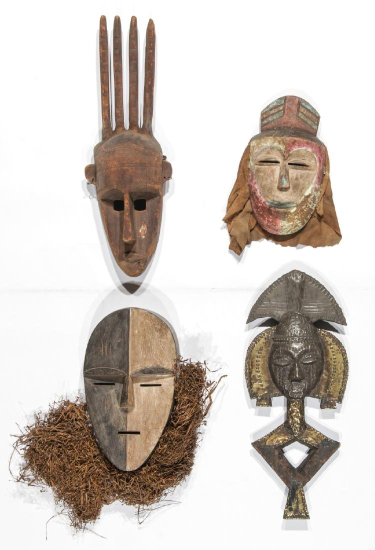 Collection of 4 African Mixed Tribe Masks and Kota