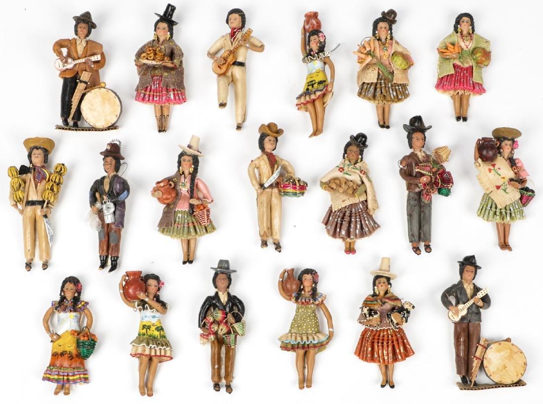 19 Bolivian Folk Art Dough Figurines.