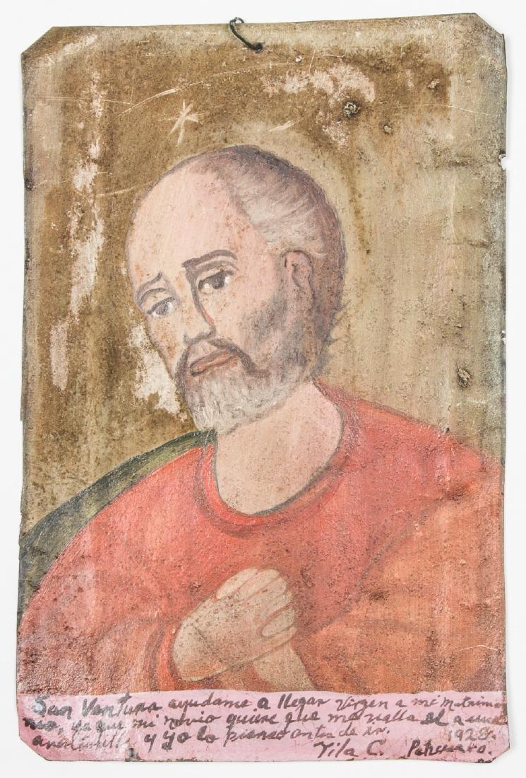 Painted Tin Retablo of Saint, Dated 1928 - 2