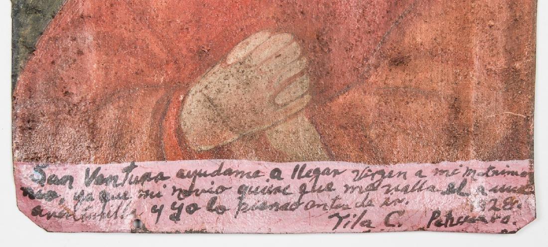 Painted Tin Retablo of Saint, Dated 1928 - 3