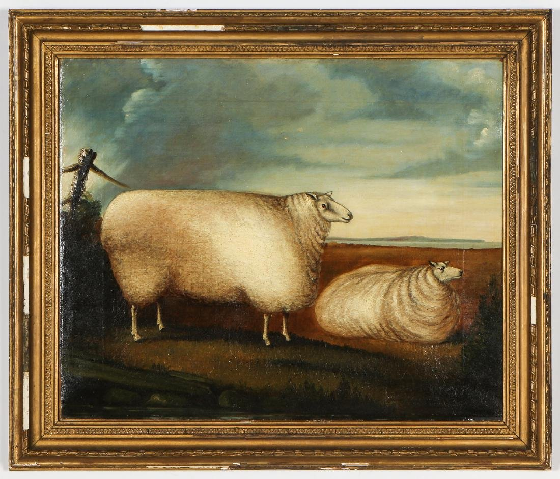 Antique British School Pastoral Landscape with Sheep
