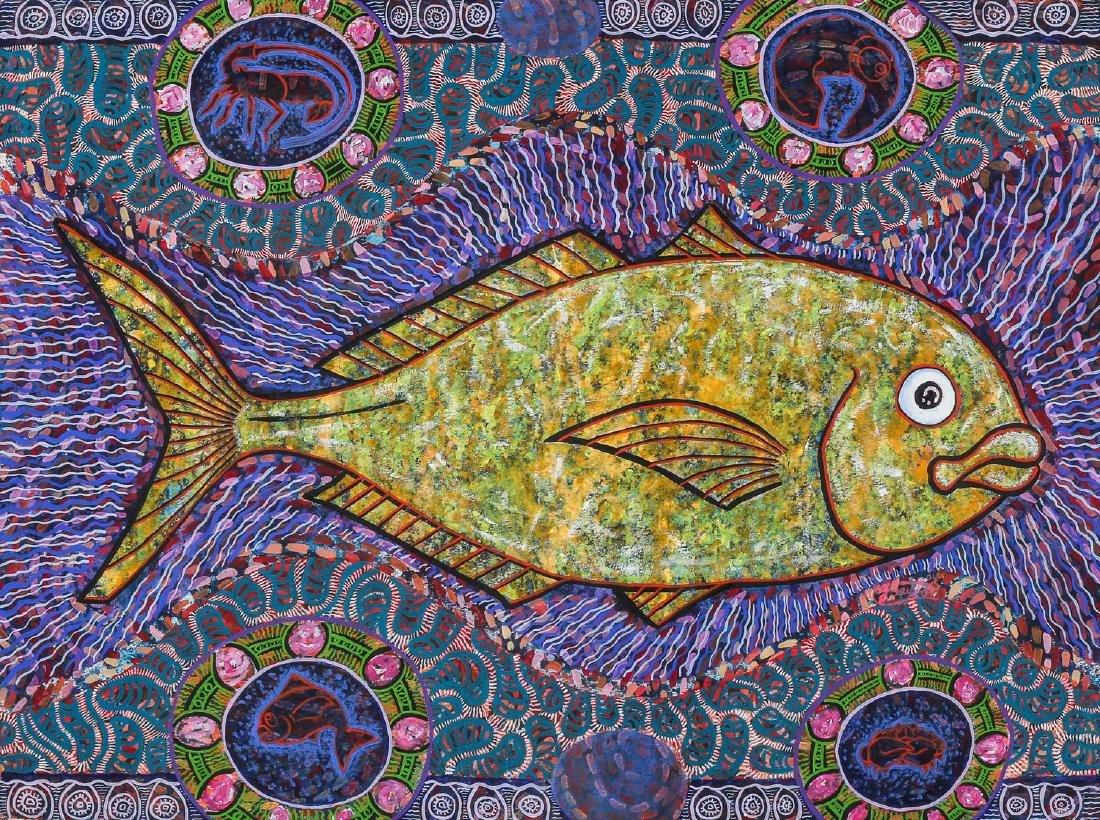 Balinese School (20th c.) Fish Painting - 2