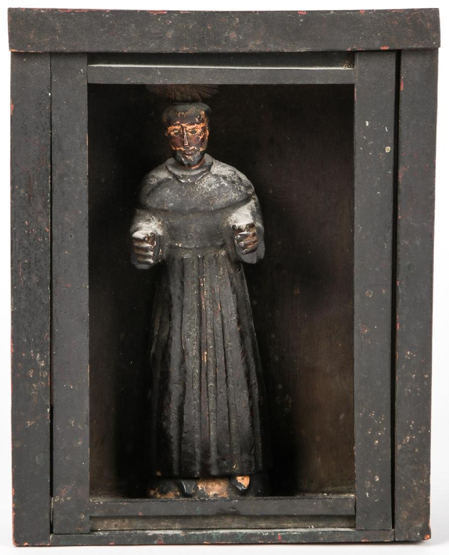 Old Guatemalan Santo in Nicho Cabinet