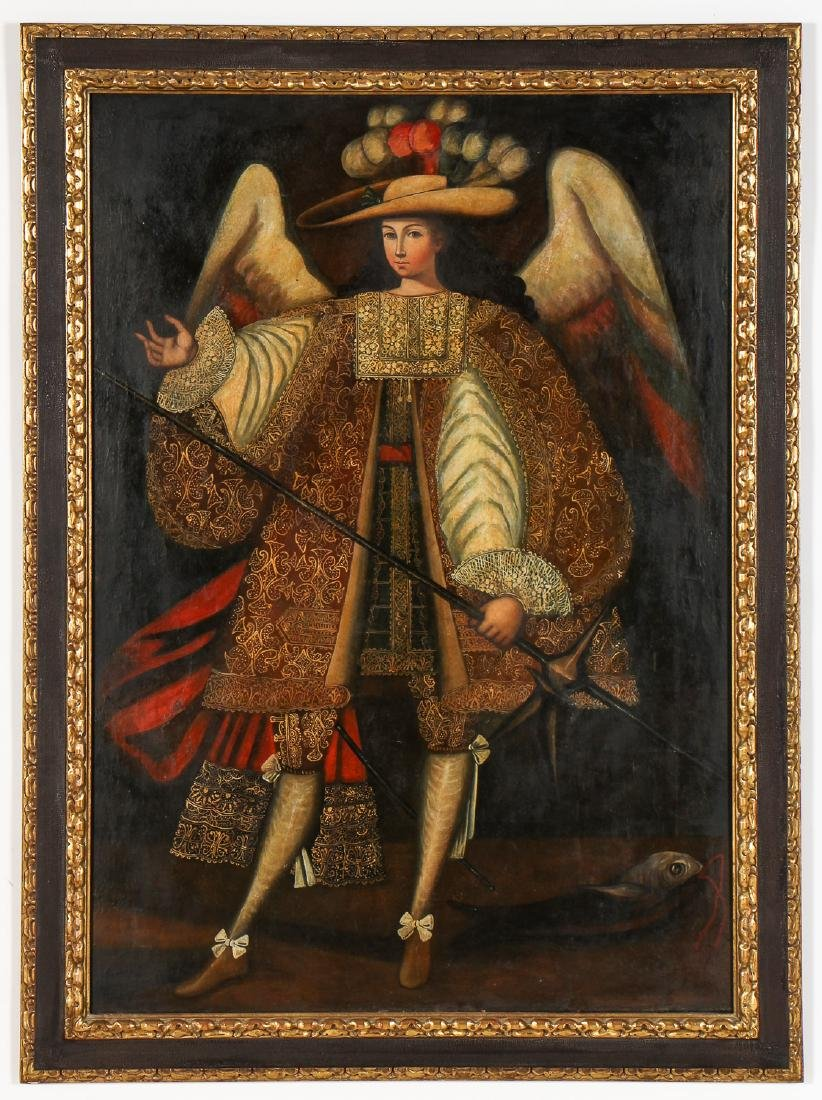 Fine 20th c. Cuzco School Painting: Archangel Raphael