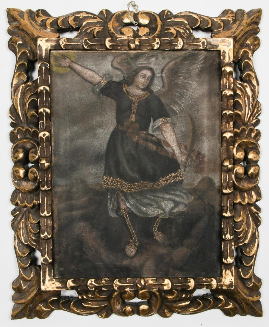 Old Cuzco School Painting of Archangel Michael