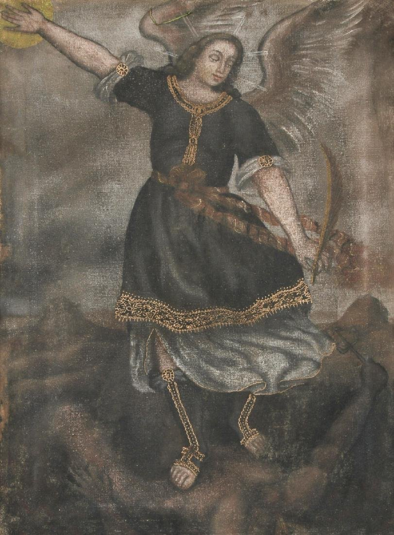 Old Cuzco School Painting of Archangel Michael - 2