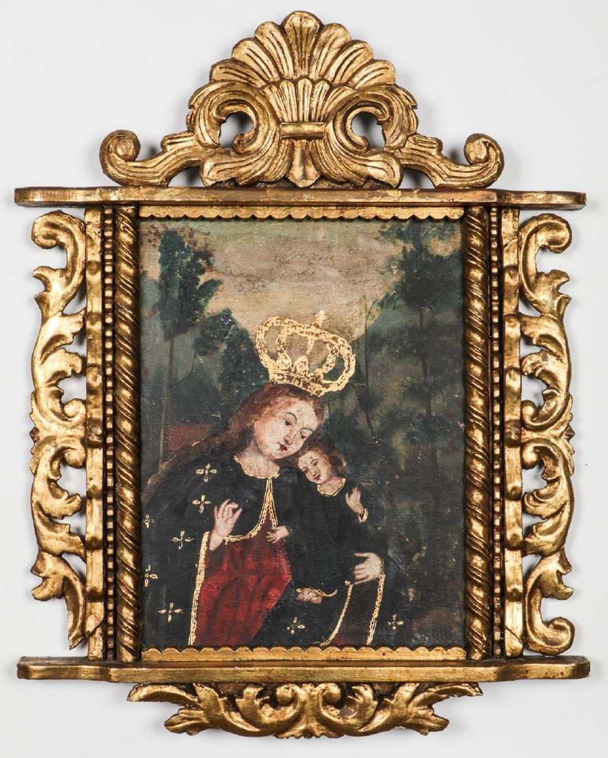 Old Cuzco School Painting of Crowned Madonna and Baby
