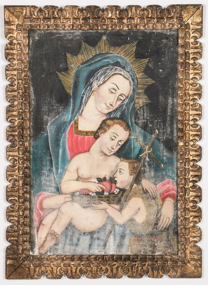 Cuzco School Painting: Madonna w. Child & St. John