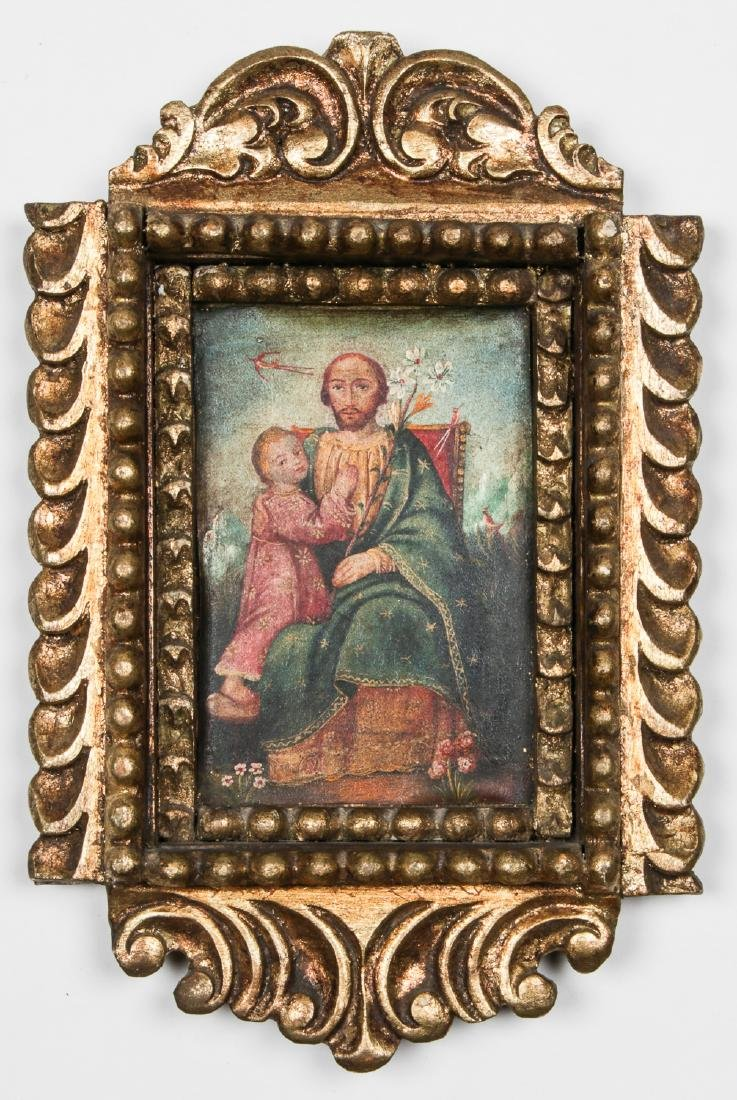 Old Cuzco School Painting in Carved Gilt Frame