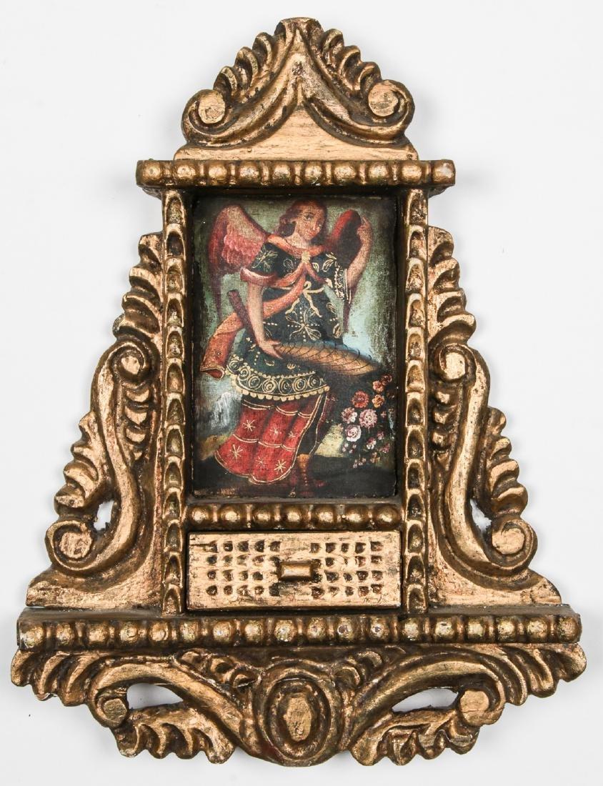 Old Cuzco School Painting Saint Gabriel w. Cornucopia