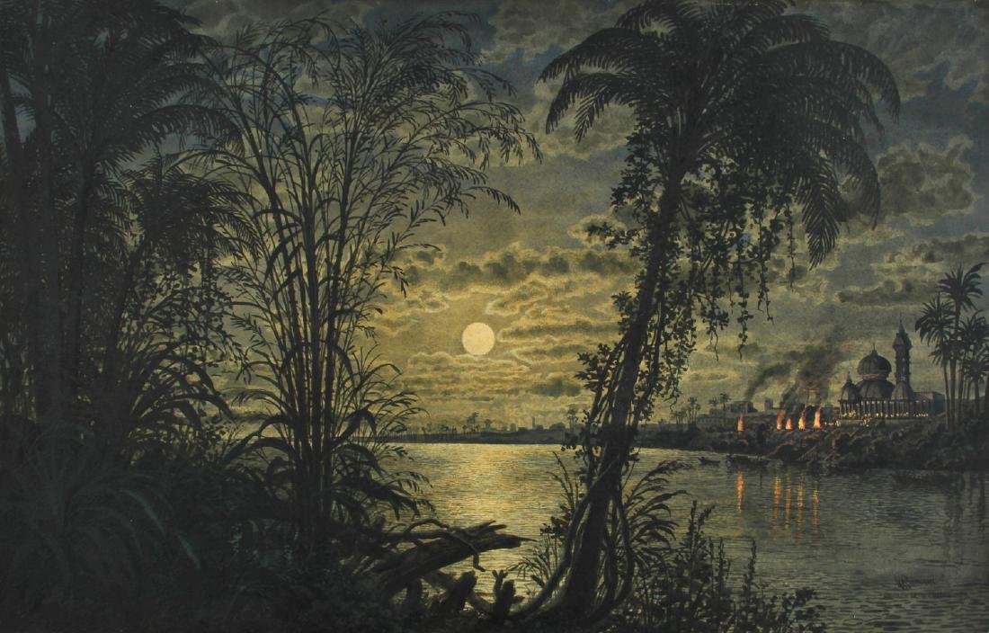 """Peter Caledon Cameron (19th c.) """"Moonrise on the Ganges"""
