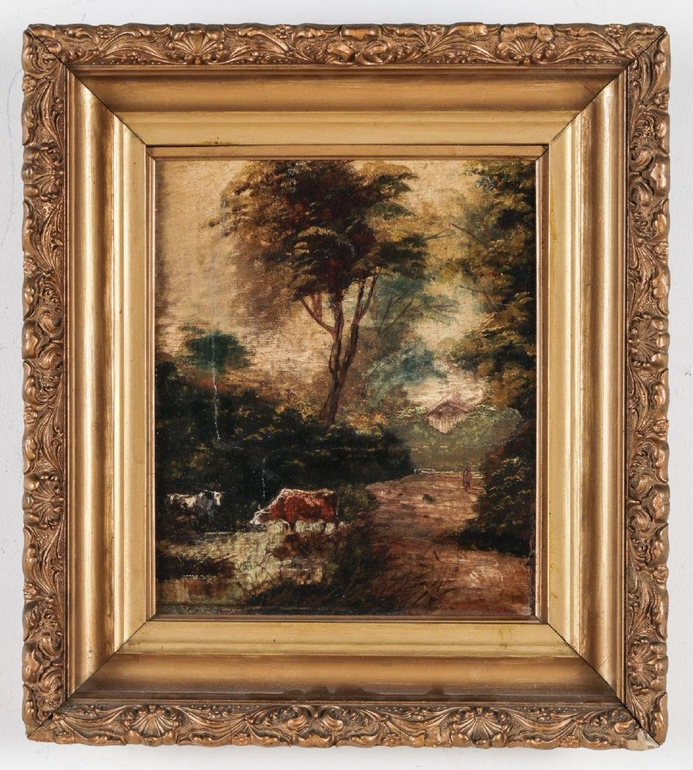 Antique Pastoral Landscape Painting