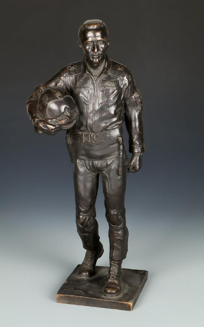 Lawrence M. Ludtke (1929-2007) Bronze Pilot Sculpture