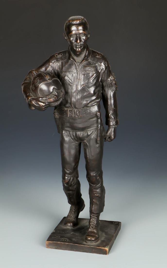 Lawrence M. Ludtke (1929-2007) Bronze Pilot Sculpture