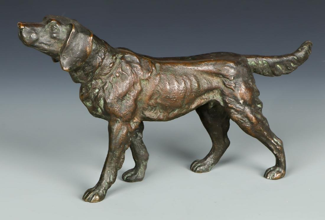 American School Bronze Dog Sculpture