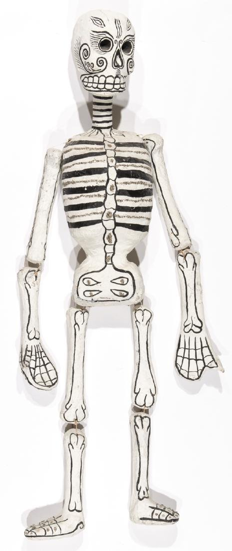 Vintage Painted Mexican Paper Mache Skeleton