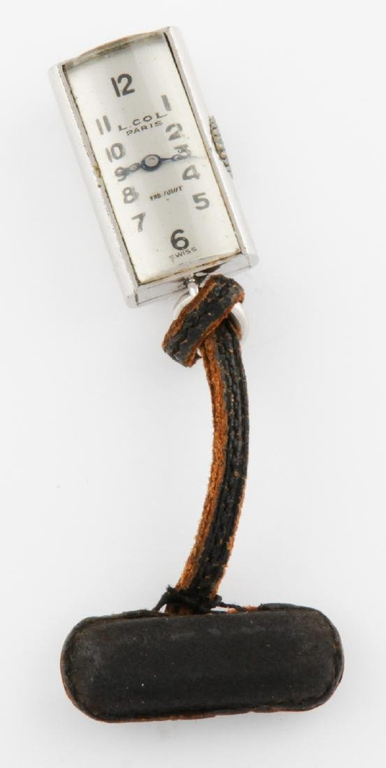 Nickel Silver Watch Pin on Leather Cord marked Juvenia
