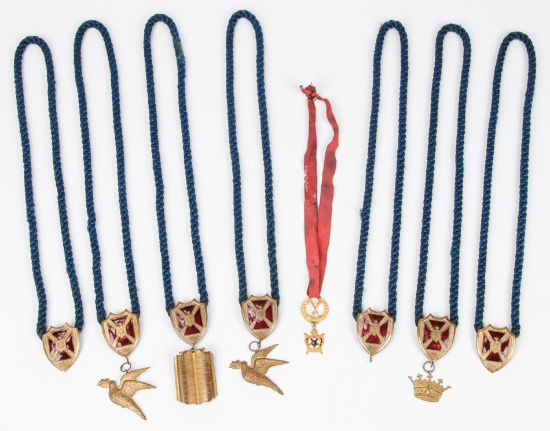 Group of 8 Masonic or Odd fellows Ceremonial Pendant
