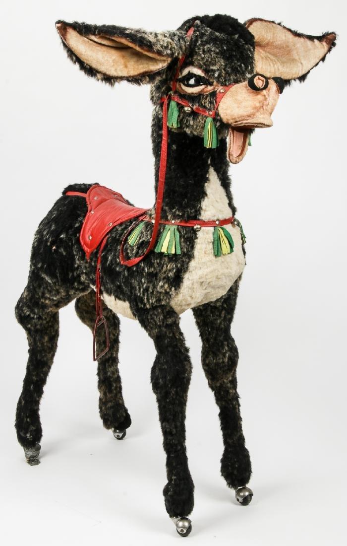 "Giant Vintage Donkey Stuffed Animal on Rollers: 51"""