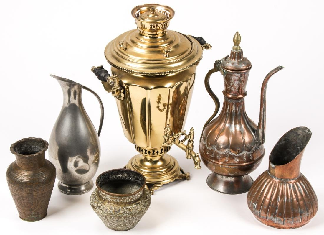 Russian Samovar & Copper/Pewter Vessels  (6 pc)