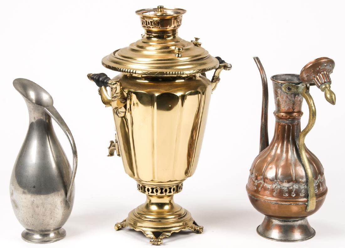 Russian Samovar & Copper/Pewter Vessels  (6 pc) - 2