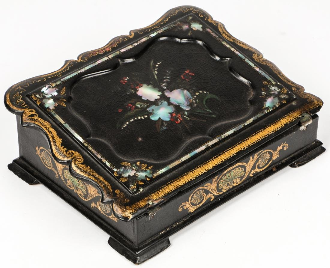 Antique Lap Desk w/ Mother of Pearl Inlay - 2