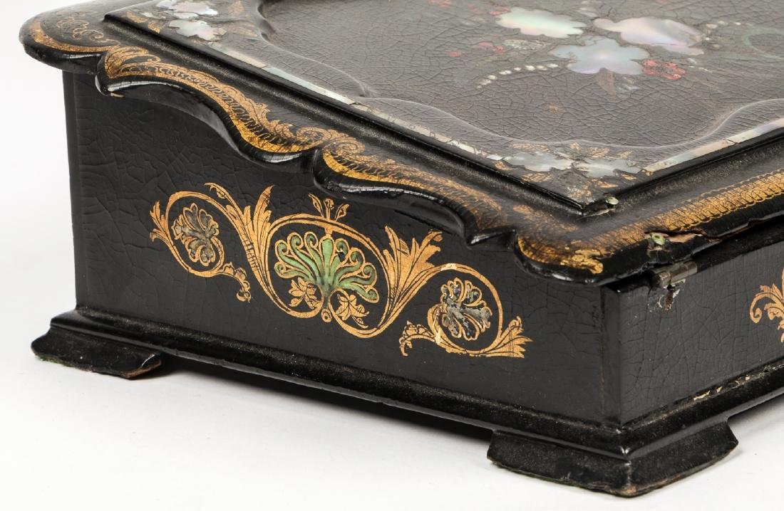Antique Lap Desk w/ Mother of Pearl Inlay - 5