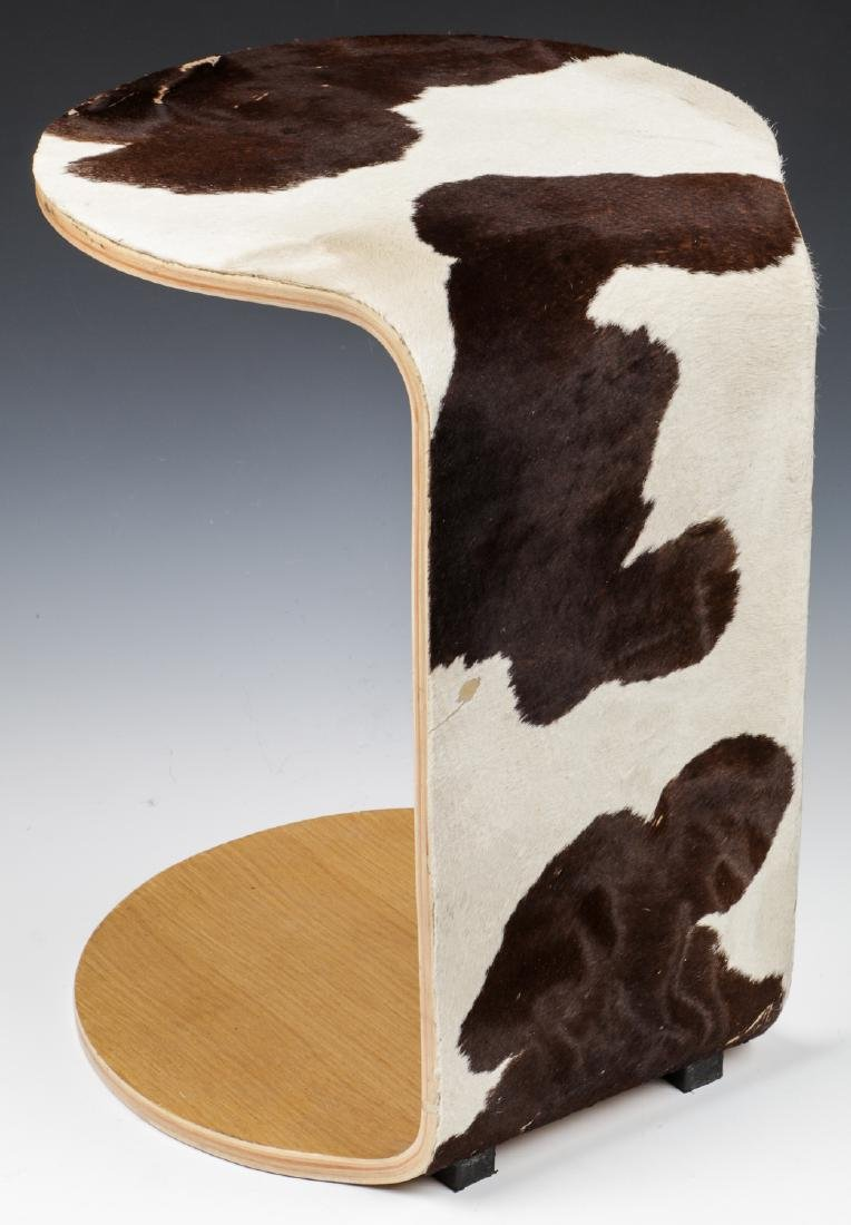 Modern Hide Covered Side Table