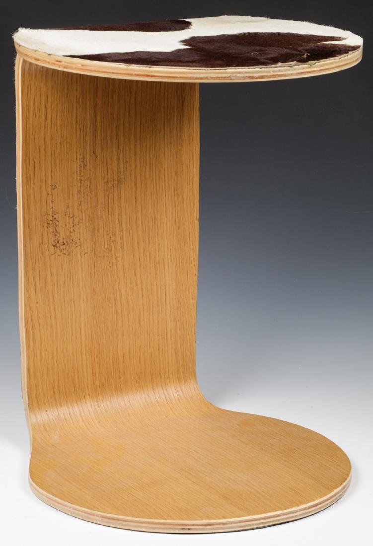 Modern Hide Covered Side Table - 2