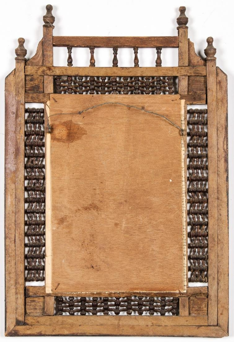 Old Syrian Wood/Inlay Frame w. Photo of King Farouk - 3