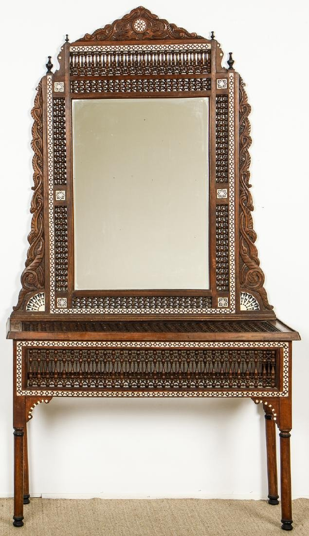 Old Syrian Wood and Inlay Mirror and Side Table
