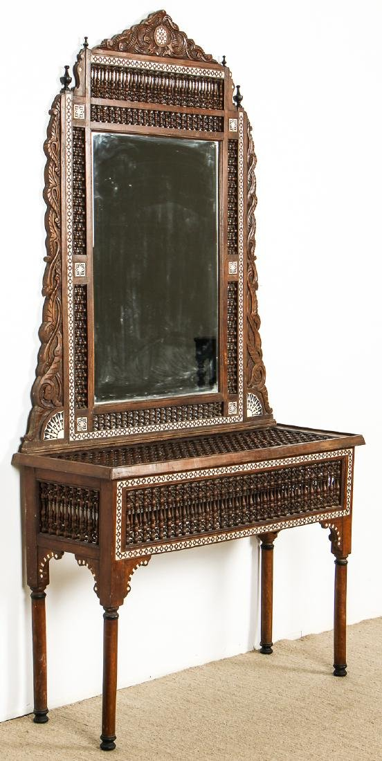 Old Syrian Wood and Inlay Mirror and Side Table - 6