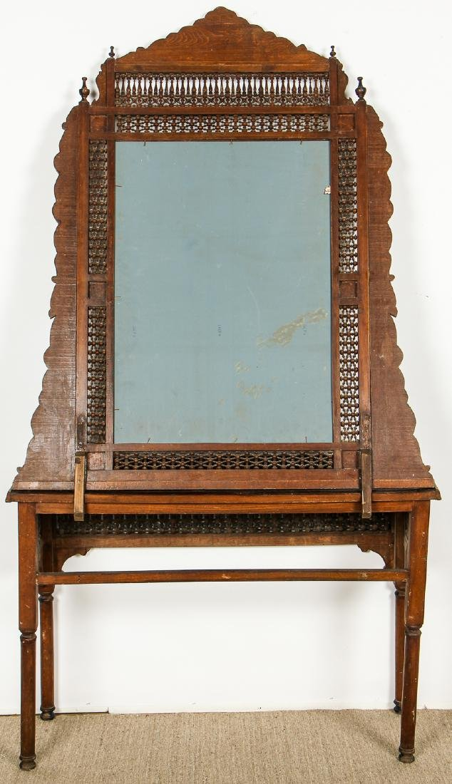 Old Syrian Wood and Inlay Mirror and Side Table - 8
