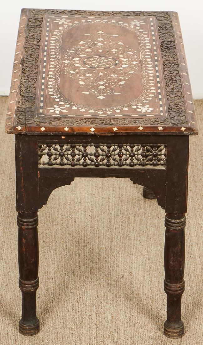 Old Syrian Wood and Inlay Side Table - 4